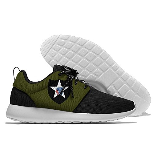 FLYOCEAN Army 2nd Infantry Division Men's Leisure Lightweight Running Sports Shoes Mesh Jogging Shoes