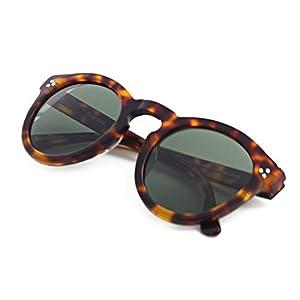 (SH013)Hourvun Round Unisex Polarized Sunglasses for Men Women,Transparent Yellow Fashion Trend Sunglasses (Tortoise shell, Green)