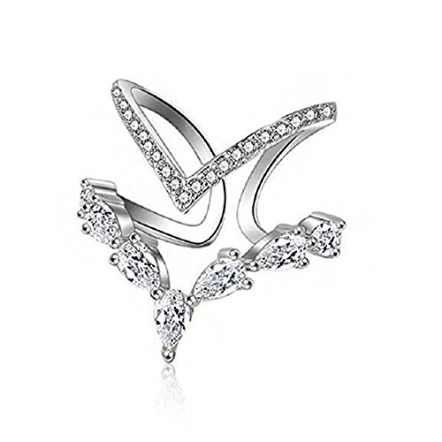 Ocean Wave Cubic Zirconia Ring - Double V-shape Ocean Wave Ring Cubic Zirconia Silver Adjustable Open Ring