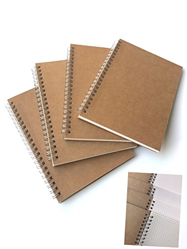 VEEPPO Pack of 4 A5 Spiral Notebooks in 4 Subjects 2mm Spoted/ 2mm Squared/5mm Spoted/5mm Squared Kraft Hard Cover Spiral Notebook Pack (A5-13.4 x - Notepad Spiral Graph