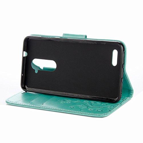 Yiizy ZTE Zmax Pro / Z981 Custodia Cover, Fiori Sollievo Design Sottile Flip Portafoglio PU Pelle Cuoio Copertura Shell Case Slot Schede Cavalletto Stile Libro Bumper Protettivo Borsa (Verde)