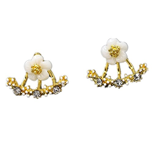 Crystal Stud Earrings Boucle d'oreille Femme 2016 Fashion Flower Earrings for Women Gold Bijoux Jewelry Brincos Pendientes Mujer, Gold and White
