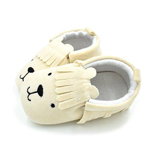 Baby schuhe,Sunyoyo Neugeborenes Baby Kleinkind Mädchen Jungen Niedlich Schuh Bär Tassle Weich Anti-Rutsch-Schuhe Beige