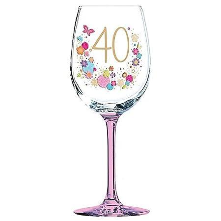 Copa de vino en caja de regalo para 40 cumpleaños: Amazon.es ...
