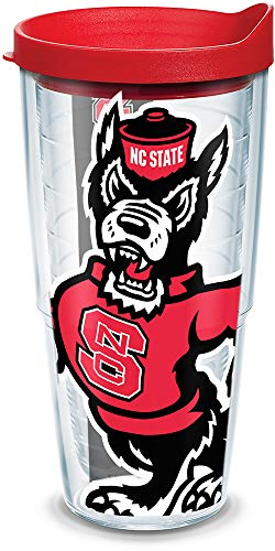 Tervis 1093264 NC State Wolfpack Mascot Colossal Tumbler with Wrap and Red Lid 24oz, Clear
