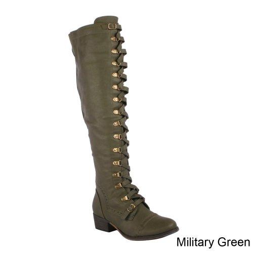 Breckelles Alabama-14 Womens Strappy Dragkedja Elastisk Design Över Knähöga Stövel, Färg: Militärgrön, Storlek: 6
