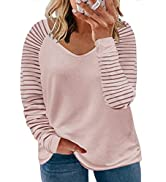 Happy Sailed Womens Plus Size Tops Casual Long Sleeve V Neck/Crew Neck Striped Loose Fit Tunic To...