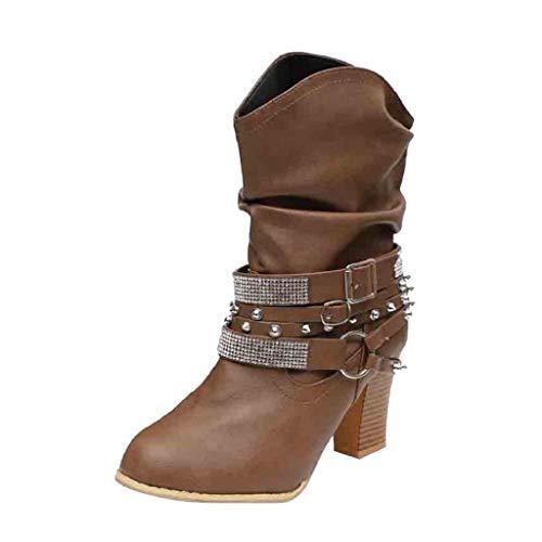 invierno 2018 Adulto Otoño Mujer zapatos Martim Tacón botines Medio Para Brillante Botas retro De Café Remaches Quicklyly 1qxSz8z