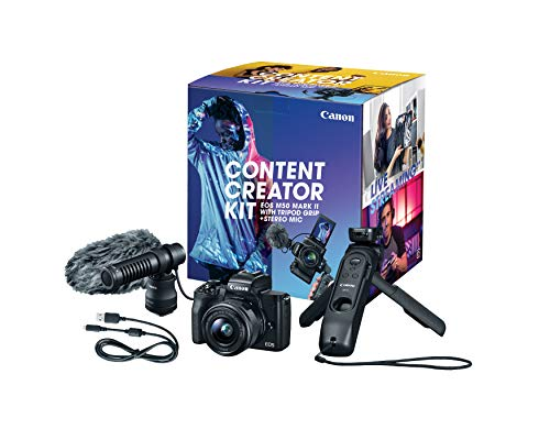 Canon EOS M50 Mark II Content Creator Kit, Mirrorless 4K Vlogging Camera Kit Includes EF-M 15-45mm Lens, Tripod Grip…