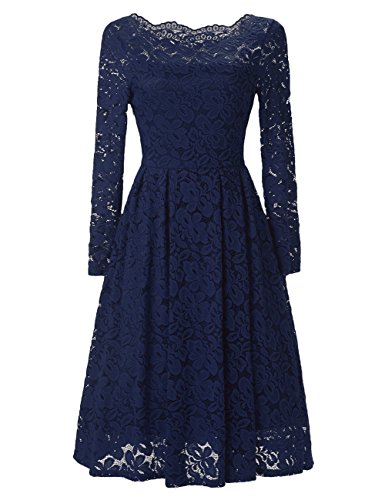 GlorySunshine Women's Long Sleeve Sexy Off Shoulder Elegant Lace A Line Casual Dress Blue 2XL