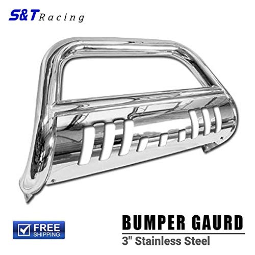 (S&T Racing Chrome Bull Bar HD Steel Bumper Guard Brush Grill Grille 1999-2007 for Chevy Silverado/Sierra 1500)