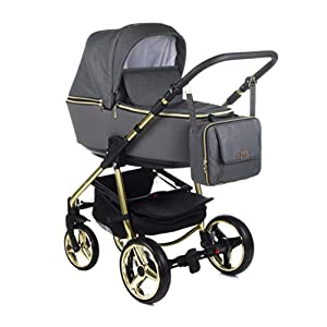 Baby Pram Pushchair Buggy Car Seat Adamex Reggio Special + XXL Accessories Set (Y-862 Graphit – Gold, 2n1)