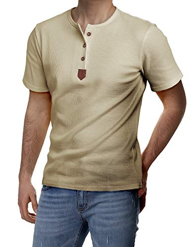 (H2H Mens Short Sleeve Henley T-Shirts with Waffle Knitted Fabric Beige US 3XL/Asia 4XL (JDSK31) )