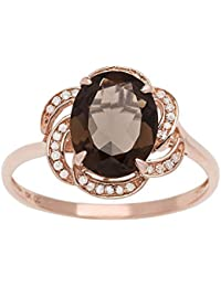 10k Rose Gold 2.10ct Oval Smoky Quartz and Flower Halo Diamond Ring (1/10 cttw)