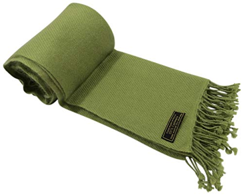 (Olive Green High Grade 100% Cashmere Shawl Hand Made in Nepal CJ ApparelNEW)