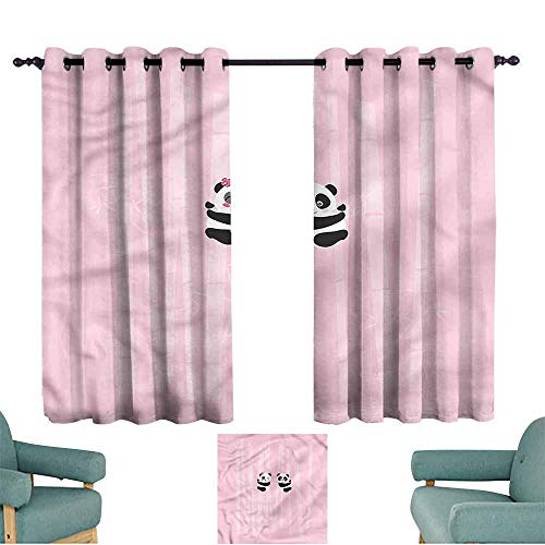 Agoza Kids Curtains Woodland Panda Climbing on Bamboo for Bedroom Grommet Drapes W55x45L