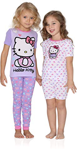 Komar Kids Girls 4 Piece Cotton Pajamas Sleepwear Set with Shorts and Pants (5, Hello Kitty Purple and Pink)]()