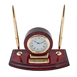 USC Lancaster Executive Wood Clock and Pen Stand 'Shield Lancers Engraved'