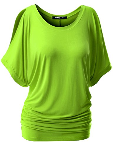TWINTH Drape Tunic Top Plus Size Loose Fit Cut Out Off Shoulder LIME - Purple Green Lime