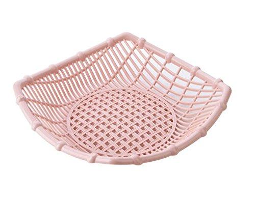Simple Design Plastic Small Flat Picnic Fruit basket Food Storage Strainer Basket Shallow Filler Desk Tray Bin Vegetable Snack Organizer Holder Bowl Rack Container Display (Pink, Square)
