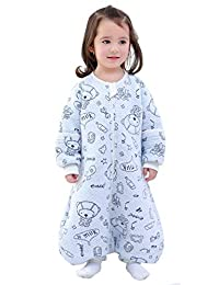 Infant Cotton 2.5 Tog Sleep Romper Baby Boys Cartoon Detachable Long Sleeves Sleep Bag for Tavel Air-conditioned Room Size 1.5-3T Blue