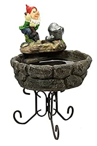 """CC Home Furnishings 22"""" Solar Powered Spring Gardening Gnome Outdoor Water Fountain"""
