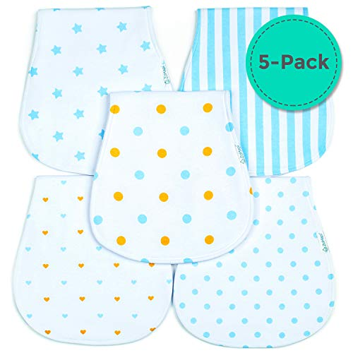 Premium Limited Edition Organic Baby Burp Cloths 5-Pack by ZoHapi | Soft & Absorbent Unisex Cotton Burping Clothes for Boys & Girls | 200GSM Thick & Large Spit Up Rags