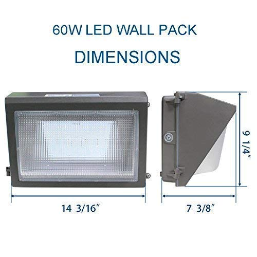 (2 Pack) Dakason LED Wall Pack 60W with Dusk-to-Dawn Photocell, Replaces 150-250 HPS/MH, 5000K Cool White 7200lm 100-277Vac, Commercial Grade IP65 Waterproof Outdoor Lighting Fixture ETL DLC Listed by DAKASON (Image #3)