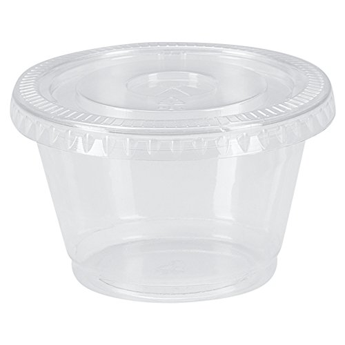 Benail Plastic Disposable Portion Cups Souffle Cup with Lids, 2-Ounce, 200-Pack