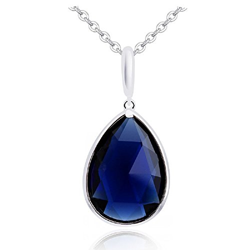 (Teardrop Pendant Necklace with Blue Simulated Sapphire Zirconia Crystals 18 ct White Gold Plated for Women 18