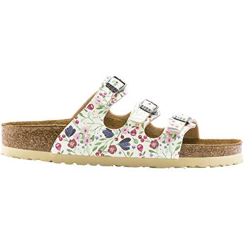 Birkenstock Women's Florida Soft Footbed Sandal Flower Beige Birko-Flor Size 37 N - Flower Sandals