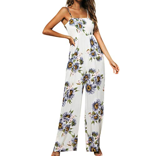 Aniywn Women's Floral Jumpsuit Strap Sling Sleeveless Wide Leg Pants Casual Jumpsuits Rompers Purple