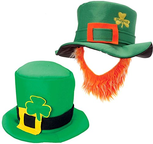 St.Patrick Green Leprechaun Hat With Orange Beard & Leprachaun Hat Funny Party Hats (White Felt Beard)