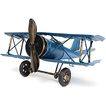 Large 8.5'' Hang Retro Airplane Aircraft Model,Home Decor Ornament Toy,Home Office Desktop Decoration, Retro World War I German Wings Model,ww1 Aircraft Model (Blue)