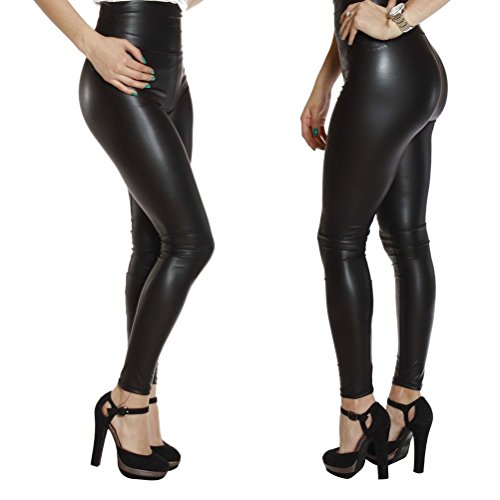 Ginasy Sexy Faux Leather Leggings for Women - Black High Waisted Pants by (0-2/Waist 24-25 1PACK, Shiny Black H4)