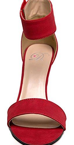 Heerlijke Dames Open Teen Hoge Hak Enkelbandje Jurk Sandaal Hakken-sandalen Rode Nubuck
