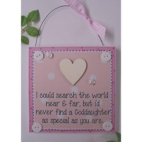 Dozoodle Goddaughter Gift Plaque Sign Saying Keepsake Wooden Handmade Light Pink
