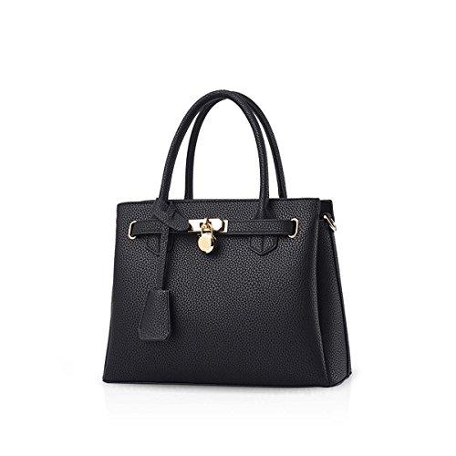 NICOLE & DORIS La nueva bolsa de moda Shouder Classic Bolso de mano elegante Litchi Pattern PU Leather Ejercito verde Negro