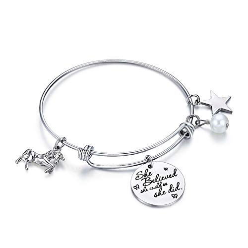 AnotherKiss Inspirational Stainless Steel Jewelry Gift Expandable Wire Bangle Charm Bracelet for Girls Women]()