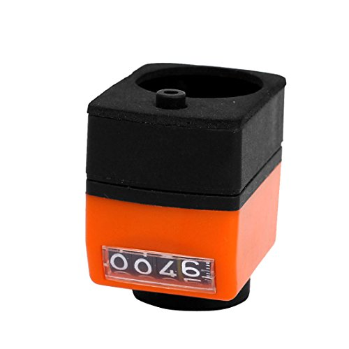 Uxcell a15070100ux0225 Mechanical 14mm Bore Digital Position Indicator Counter Orange Black,