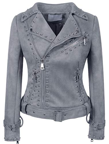 chouyatou Women's Cool Studded Asymmetric Zip Snake-Skin Perfect Suede Leather Moto Jacket (Large, Suede-Grey)