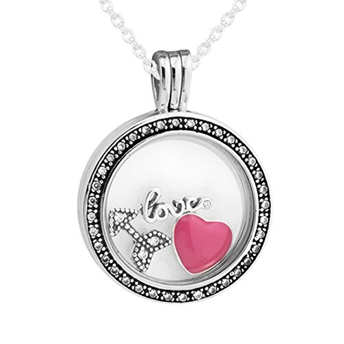 - CKK Charm 925 Sterling Silver Medium Floating Locket Round Pendant Necklace with Love Feelings Petites & Magenta Enamel Compatible with Pandora Peties Women Love Gift