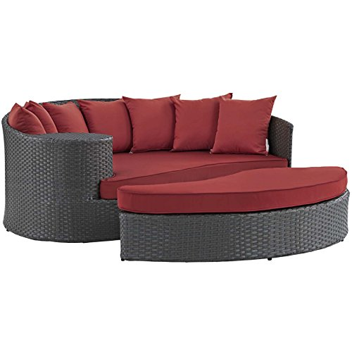 Lexington Daybed - Modway EEI-1982-CHC-RED Sojourn Wicker Rattan Outdoor Patio Sunbrella Fabric Sectional Sofa, Daybed, Canvas Red