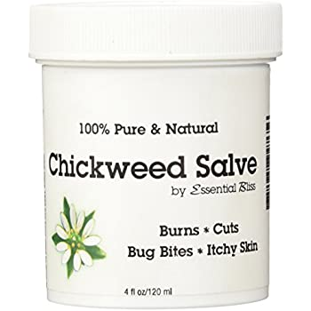 Chickweed Salve 4 OZ * 100% Pure * All Natural Organic No Additives * Soothing Anti Itch Cream * Provides Relief from Dry Skin Eczema Shingles* Soothes Burns Cuts Bug Bites