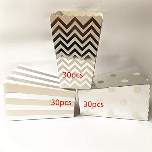 ASIBT 90Pcs Popcorn Boxes,Popcorn Favor Boxes Cardboard Candy Container,Silver Wave Pattern(30pcs), Stripe(30pcs) and Polka Dot(30pcs) -