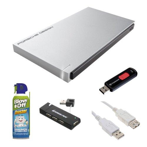 LaCie 9000342 Porsche 120GB P'9223 Slim USB 3.0 SSD External Hard Drive + Transcend 4GB JetFlash 500 USB 2.0 Flash Drive + Accessory (Lacie 500 Gb Firewire)