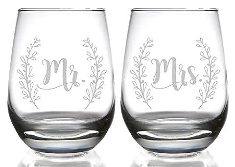 Mr & Mrs Laurel Stemless Wine Glass Set (Set of 2 Clear 15 oz. Stemless Wine Glasses) - Monogram Pint Glass