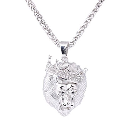 Botrong Mens Full Iced Out Rhinestone Lion Tag Pendant Cuban Chain Hip Hop Necklace (Silver) - Glass Sterling Silver Chain