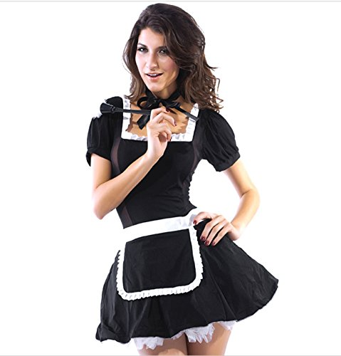 Slocyclub Women French Apron Maid Servant Fancy Dress Cosplay Costume (70s Cop Costume)