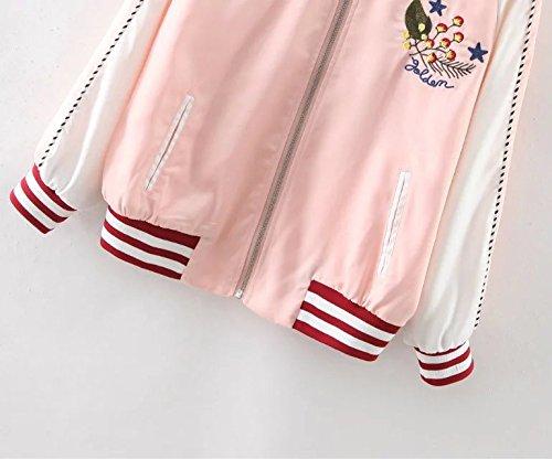 Fußboden Braun Zip ~ Beyondav damen vintage bomber jacket classic zip up embroidery